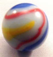 Picture of M199 25MM White Base With Orange, Green, Blue & Yellow Twisted Swirls Marbles