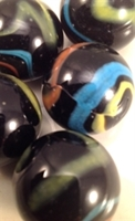 Picture of M233 25MM Black Base With Yellow, Light Blue And Orange Swirls Glass Marbles