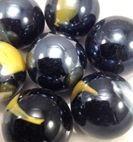 Picture of M231 25MM Black Base With White And Yellow Swirls Glass Marbles