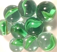 Picture of M84 16MM Clear & green cat eye glass marbles