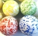 Picture of M202A 25MM White rolled in Blue, Green, Yellow, or Red Colored Crushed Glass Shiny Marble