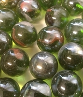 Picture of M170 16MM Transparent green with peach and white swirls twisted glass marbles