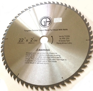 "Picture of TC226N  22""  60 Tooth Carbide Tipped for WOOD WITH NAILS 2"" arbor"