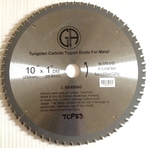 """Picture of TCP33 10"""" 60T Carbide Saw Blade for STEEL"""