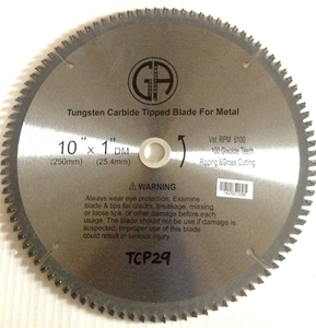 Picture of TCP29 10-in. 100 Tooth - Tungsten Carbide Tipped NON Ferrous METAL Saw Blade, Professional Quality