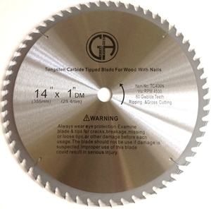 "Picture of TC406N 14"" 60 Tooth Carbide Saw Blade for WOOD with NAILS"