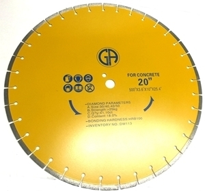 Picture of DW113  20IN Segmented silver brazed saw blade for CONCRETE