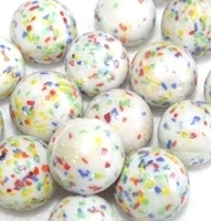 Picture of M119 16MM White Base Rolled in Multicolored Crushed Glass Marbles