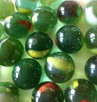 Picture of M168 16MM Shiny green marbles with red and yellow swirls