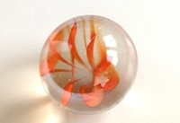 Picture of M220 25MM transparent clear with orange, yellow, blue, green swirls glass marbles