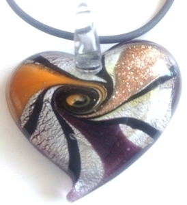 Picture of GP21 Hand Made Murano Fused Glass Jewerly Heart