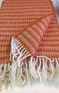 "Picture of WT1 Wool Throw Blanket 100% New Zealand Wool Orange 50"" x 80"" Kilppan Saule"