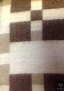 "Picture of WB2 Wool Blanket 30% Alpaca wool, 50% New Zealand Wool, 20% Cotton Brown/Ivory 55"" x 80"" Kilppan Saule Made in Latvia"