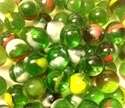 Picture of MN07 14MM Transparent Green with red, yellow and white swirls