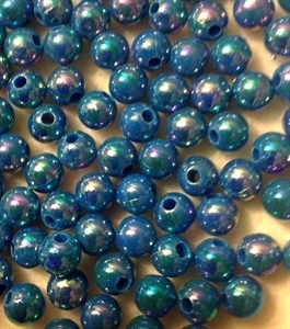 Picture of BD8RR7  8mm RAINBOW BLUE round plastic beads