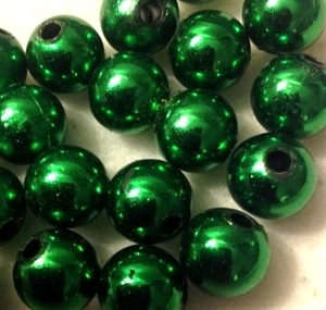 Picture of BD10RM9 10mm METALLIC GREEN round plastic beads