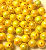 Picture of BD12RR2  12mm RAINBOW YELLOW round plastic beads
