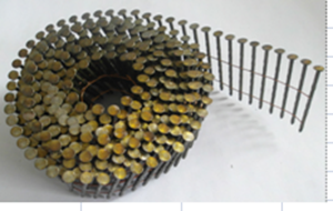 "Picture of NN107 - 15° 2.5"" x.099 Bright Screw Nail -  (Flat Coil, Wire Collated) 9000 nails in cartin, 35 cartins in Pallet"