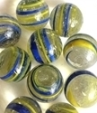 Picture of MJ3222B  HANDMADE 25MM Set of 10 Marbles, CLEAR w/BLUE & YELLOW STRIPES