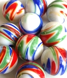 Glass Marbles 25MM or  1in  Handmade colored, stripes, swirls, spots