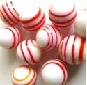 Picture of MJ3226A Handmade Marbles 16MM set of 10,.White w/red & yellow stripes