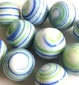 Picture of MJ3226AC HANDMADE 16MM set of 10, White w/blue, green and yellow stripes