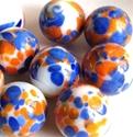 Picture of MJ3226B HANDMADE 16MM White w/blue & orange spots, set of 10