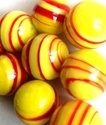Picture of MJ3226BB HANDMADE 16MM set of 10, Yellow w/red stripes