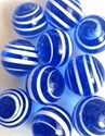 Picture of MJ3226CB HANDMADE 16MM set of 10, Transparent Blue w/white stripes
