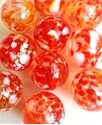 Picture of MJ3226CA HANDMADE 16MM set of 10, Clear w/red, yellow and white spots