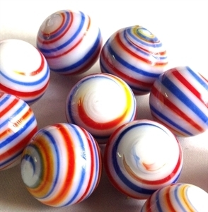 Picture of MJ3226D HANDMADE 16MM set of 10, White w/blue, red and yellow stripes