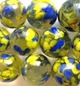 Picture of MJ3226DA HANDMADE 16MM set of 10, Clear w/blue & yellow spots