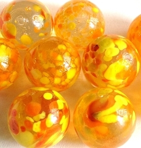 Picture of MJ3226EA HANDMADE 16MM set of 10, Clear w/yellow and red spots