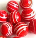 Picture of MJ3226F HANDMADE 16MM set of 10, Red w/white stripes