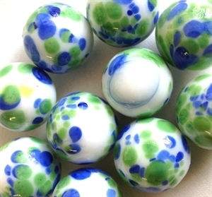 Picture of MJ3226FB HANDMADE 16MM set of 10, White w/blue and green spots