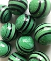 Picture of MJ3226G HANDMADE 16MM set of 10, Green w/black stripes