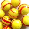 Picture of MJ3226GA HANDMADE 16MM set of 10, Yellow w/red stripes