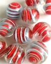 Picture of MM3048A HANDMADE 16MM set of 10, Clear with red and light blue swirls