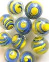 Picture of MM3048BA HANDMADE 16MM Clear w/blue & yellow twists, set of 10