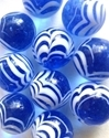 Picture of MM3048C HANDMADE 16MM set of 10, Transparent Blue w/white swirls