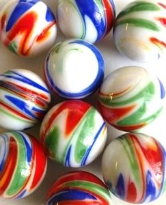Picture of MJ3221B HANDMADE 25mm set of 10, White w/blue, red, green, yellow swirls