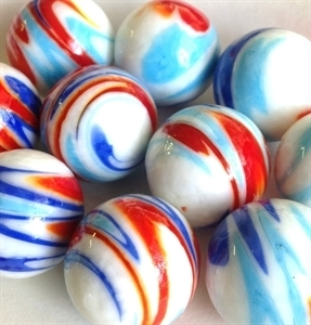 Picture of MJ3221D HANDMADE 25mm set of 10, White w/blue, turquoise, red yellow swirls