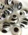 Picture of MM3045A HANDMADE 25mm set of 10, Clear w/black & white swirls