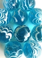 Picture of MM3045AB HANDMADE 25mm set of 10, Transparent Blue w/white swirls