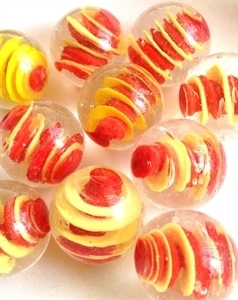 Picture of MM3045B HANDMADE 25mm set of 10, Clear w/red & yellow swirls