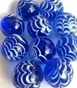 Picture of MM3045CA HANDMADE 25mm set of 10, Transparent blue w/white swirls