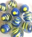 Picture of MM3045D HANDMADE 25mm set of 10, Clear w/blue & yellow swirls