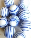 Picture of MJ3226DC HANDMADE 16MM set of 10, White w/blue stripes