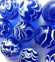 Picture of MM30441 Handmade 35MM Blue Transparent with White Stripes, Set of 10
