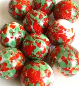 Picture of MJ3222BA  HANDMADE 25MM Set of 10 Marbles, WHITE w/GREEN, RED, & GOLD  STRIPES